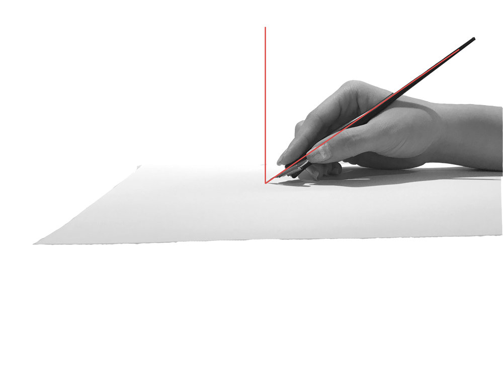 The angle between the pen and paper is smaller. This is preferred.
