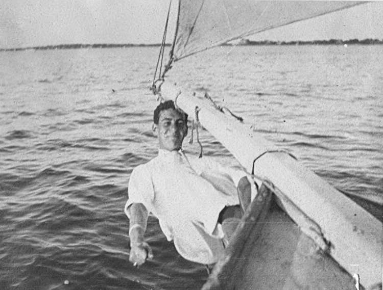 George Squibb on his boat in Saunderstown