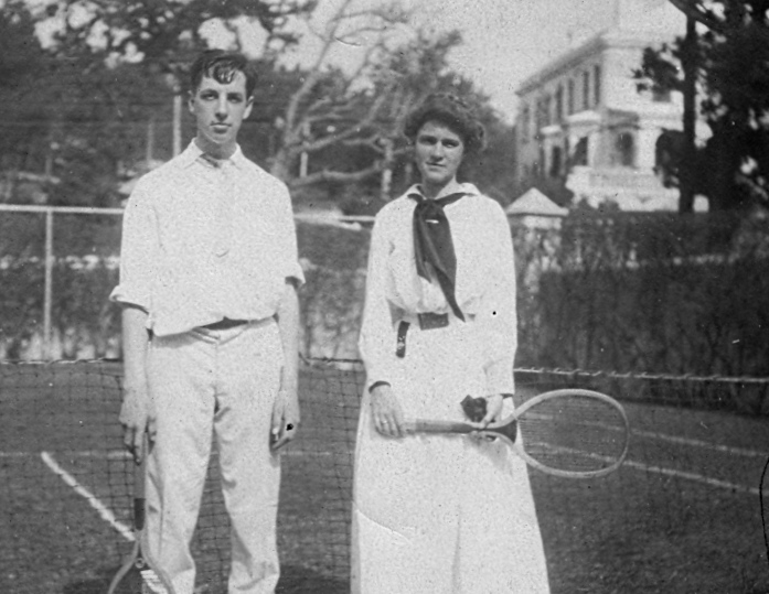 Granny and a suitor after a tennis match