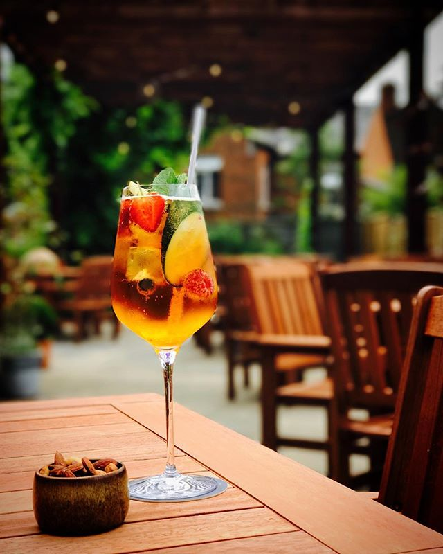 Pimms on the terrace.... all we need is some sun! #ascot #dukebar #terrace