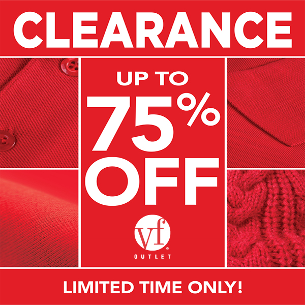 VF Outlet Clearance Sale - Jan 2 - Feb 28 - up to 75% off, includes all dot clearance items!!