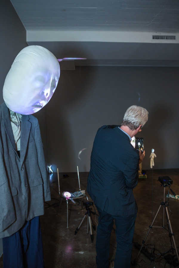 Tony Oursler among his creatures at the Magasin III Museum of Contemporary Art, in Stockhol.