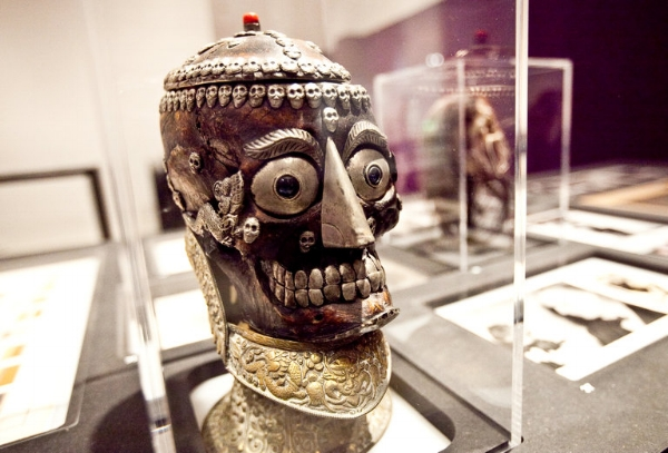 "A Tibetan kapala skull from the 19th century that would have been used in both Hindu and Buddhist tantra rituals, at the exhibition ""Tony Oursler: The Imponderable Archive"" at the Hessel Museum of Art at the Bard Center for Curatorial Studies.     CreditByron Smith for The New York Times"