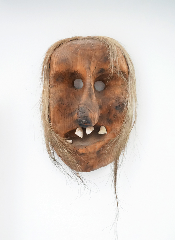 "A mask that Oursler called a ""Crampus-Type mask,"" referring to the anthropomorphic Austrian figure who punishes children during the Christmas season, in sharp contrast to St. Nicholas."