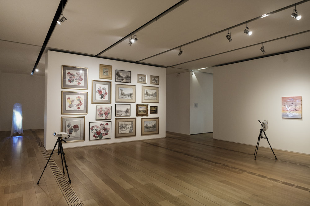 Installation view with Rol's paintings