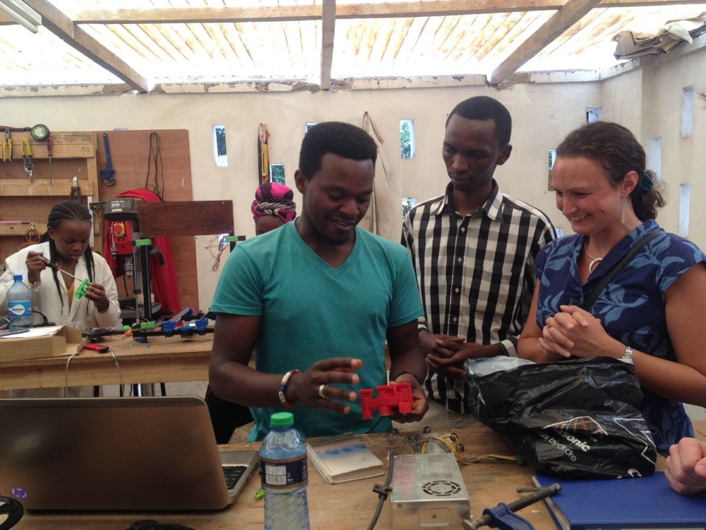 Locally-made Kenyan 3D printers and printed products at the AB3D workshop