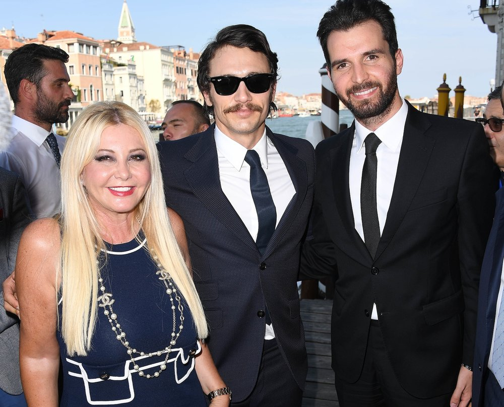 "Producers Monika Bacardi and Andrea Iervolino with director James Franco before the press conference ""In Dubious Battle"" in Venice film festival"