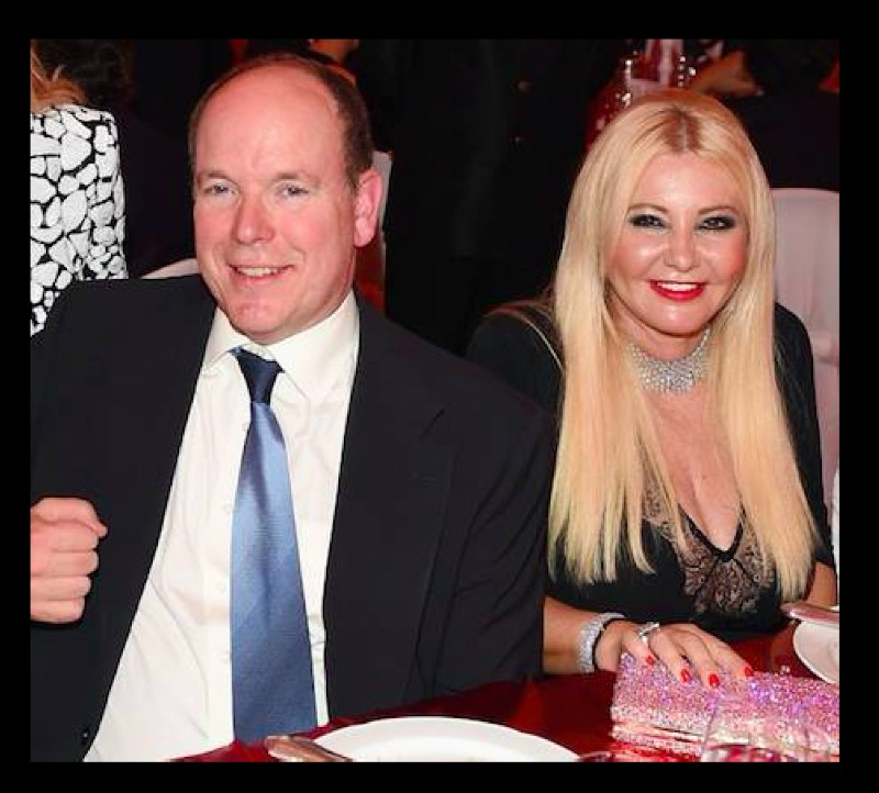 Lady Monika Bacardi with HSH Prince Albert II at Monaco Ambassador Gala