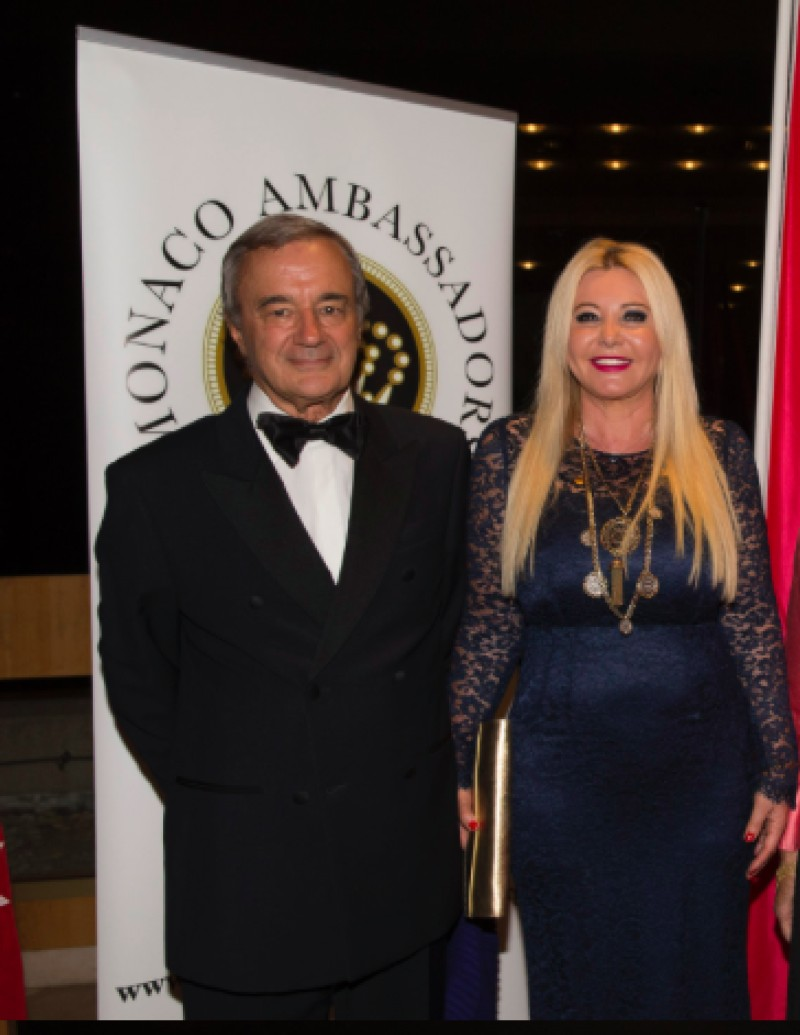 Monika Bacardi and Prof Rampal at Monaco Ambassador Gala in support of Nepal!