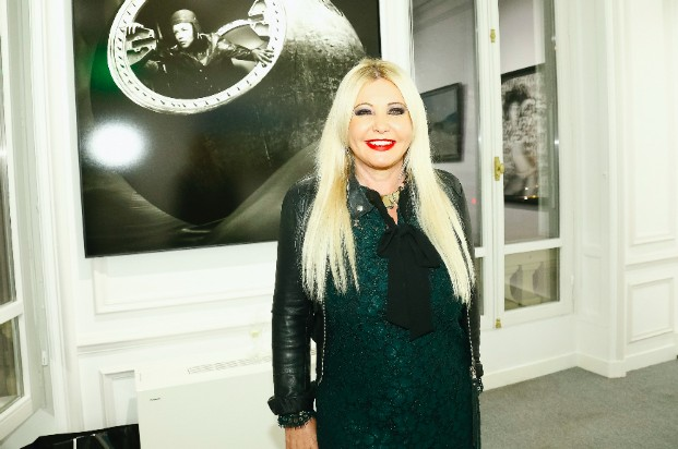Monika Bacardi, co-owner of PHOTO Magazine, at the New Photo Department celebration at the Auction House Cornette De Saint Cyr in Paris
