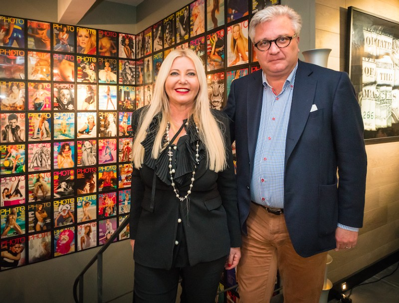 "Monika Bacardi and HSH Prince Laurent of Belgium at Terry O'Neill's exposition ""Shooting with the stars"" in PHOTO HOUSE"