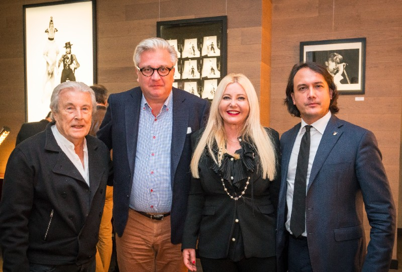 "Monika Bacardi, HSH Prince Laurent of Belgium, David Kane and Terry O'Neill at his exposition ""Shooting with the stars"" in Brussels"