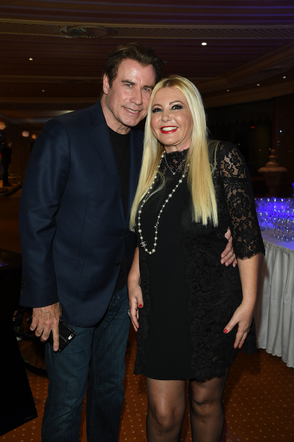 Monika Bacardi with John Travolta at Andrea Iervolinos Birthday
