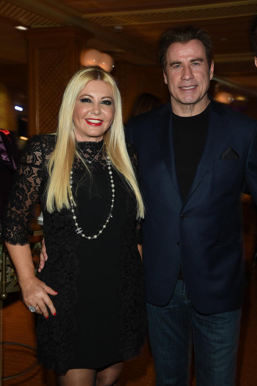 Lady Monika Bacardi with John Travolta at Andrea Iervolino's Birthday