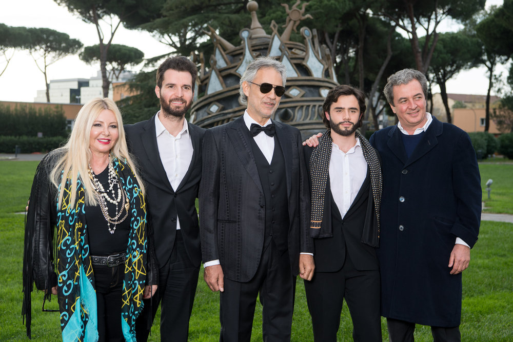 'The Music of Silence by Michael Radfor' Lady Monika Bacardi on set with Andrea Bocelli