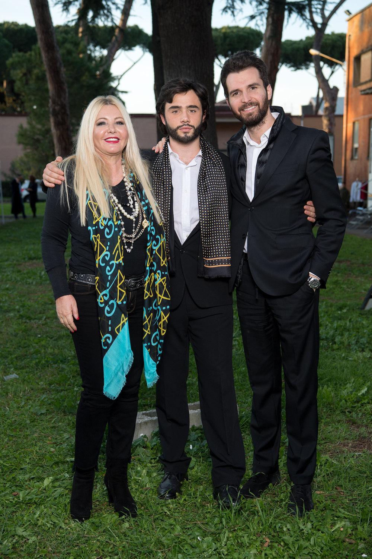 Monika Bacardi on set with Andrea Bocelli