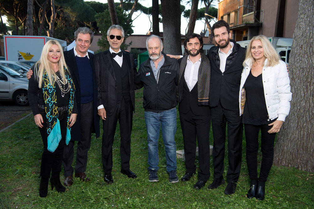'The Music of Silence by Michael Radfor' Monika Bacardi on set with Andrea Bocelli and AMBI Group