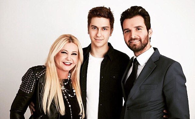 Monika Bacardi with Nat Wolff and Andrea Iervolino on set