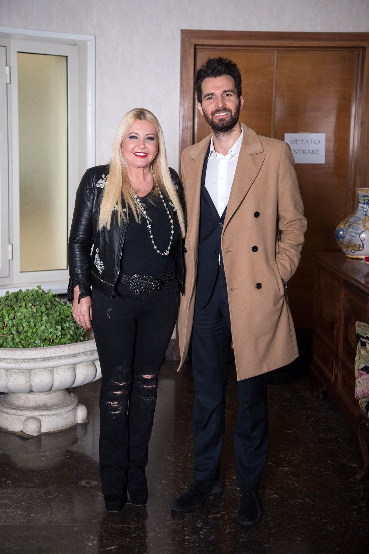Monika Bacardi and Andreas Iervolino on set with Antonio Banderas