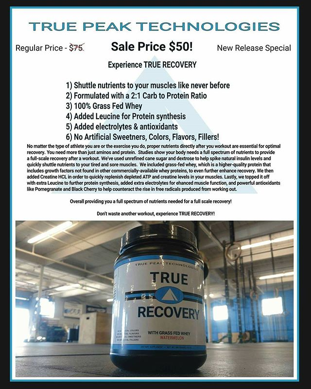 It has arrived!!! We are beyond proud to bring you the first installment of True Peak's supplement line: True Recovery!  We based our formula on a 2:1 Carb to Protein ratio, which has been studied to be the most effective for recovery. We also included 100% Grass-Fed Whey with no artificial flavors, sweeteners, colors, and fillers. There was no joking around when we devised this product. True Recovery supplies you with EVERYTHING you need after you workout for a full-scale recovery!  For questions, product information, and orders message us here on the Instagram page!  Clean & effective. Recovery done right. @truepeakcrossfit #recovery #performance #athletics #crossfit #bodybuilding #physique #athlete #running #swimming #cycling #supplements #manchesternh #manchestermonarchs #truepeak #truepeakcrossfit