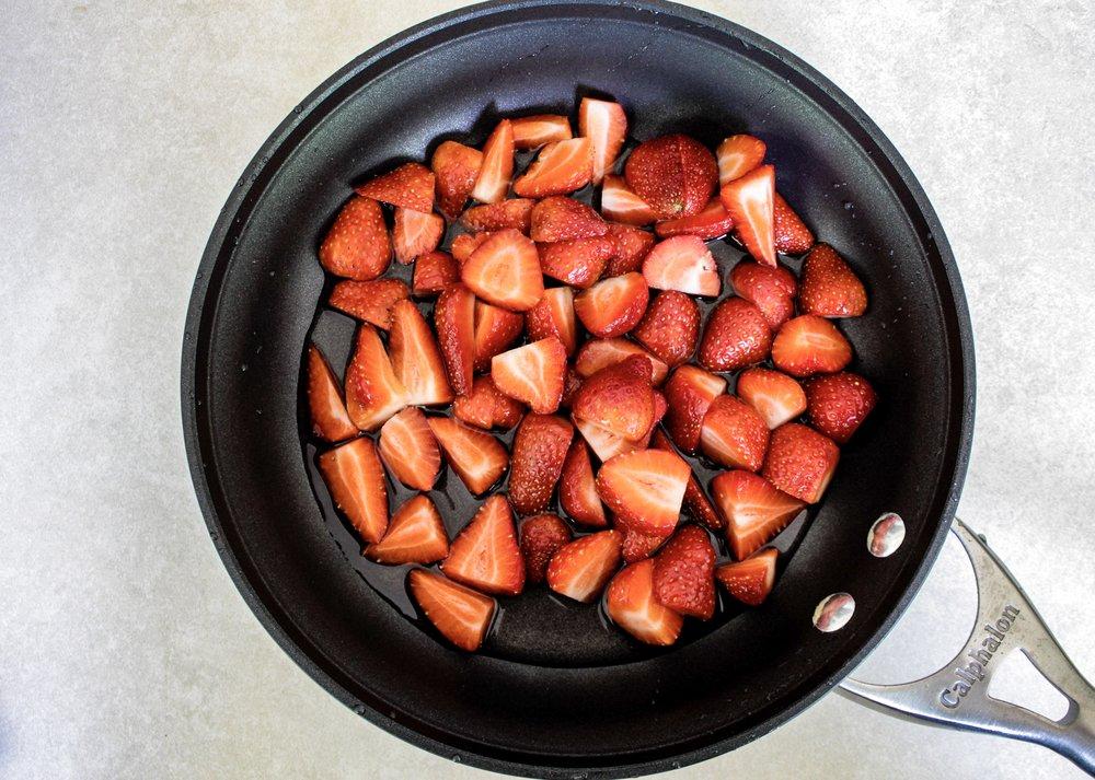 Cut strawberries before cooking