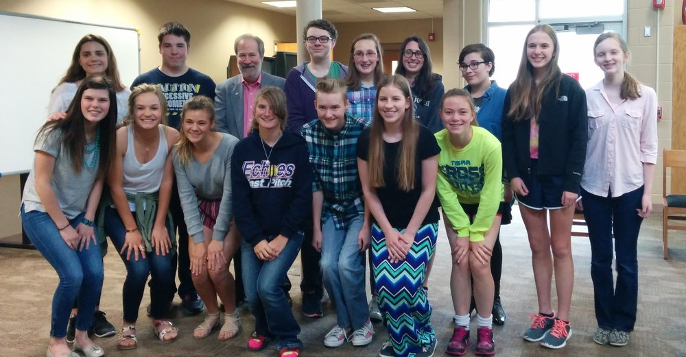 Author, Michael Korenblit, with Gretna HS students