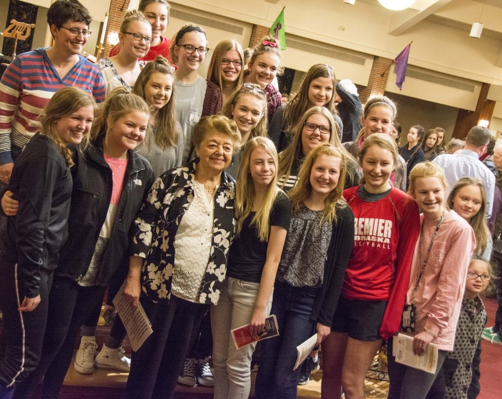Magda Brown with students at Countryside Community Church.