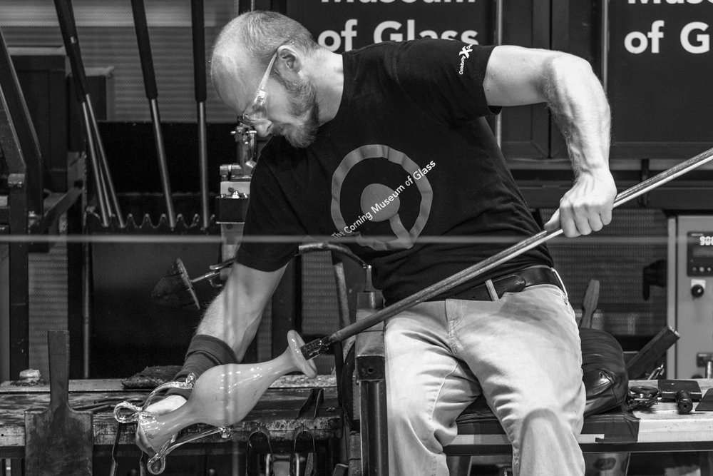G Brian demonstrating at the Corning Museum of Glass