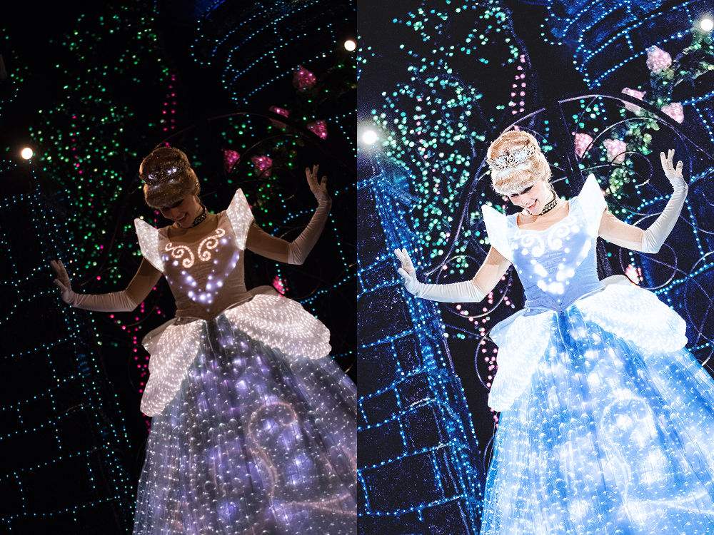 Cinderella,  Tokyo Disneyland Electrical Parade Dreamlights  Dreamlights is really such a stunning parade, but (as with most nighttime parades) it's difficult to photograph. In this case, I played around with curves, camera calibration, and the masking tool in Lightroom.