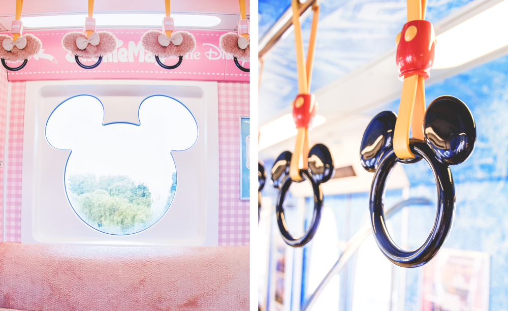 3. The transportation The easiest (and not to mention, the cutest) way to get around TDR is the Disney Resort Line.It's not your average monorail, with plush seats and everything Mickey shaped (from the windows to the handles!) One of the best things about the Disney Resort Line is their seasonal overlays. There's an entire train just dedicated to Duffy and friends! Once you sit down, you won't want to get up.