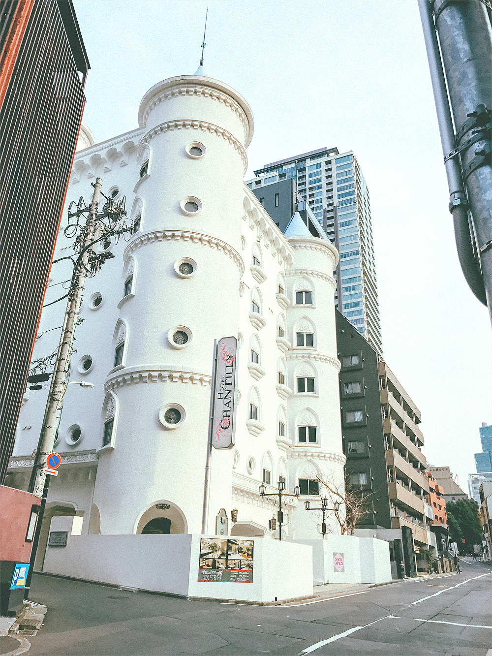 """Walking back to the station we passed this cute hotel with a European castle inspired exterior. Without realizing, I took a photo of a """"love hotel"""", which is meant for casual sex. As it turns out, they charge hourly or overnight for their state of the art themed rooms. This is not as uncommon as you think."""