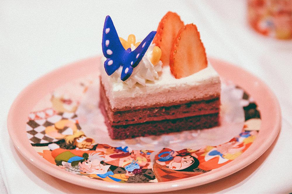 Cassis cream cake with fresh strawberries