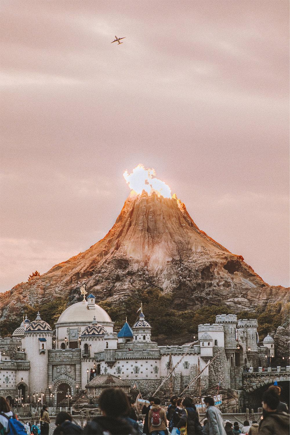 Look at Mount Prometheus erupt! This stunning display really brings DisneySea to life.