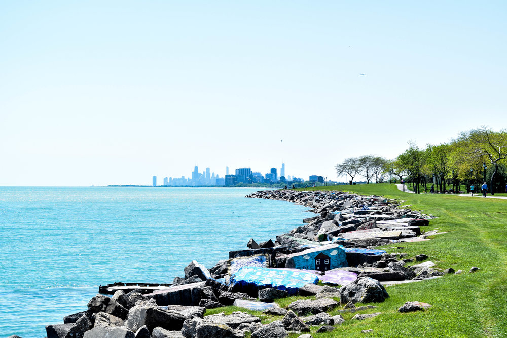 Northwestern's Lakefill, with Chicago in the distance. It's an age-old tradition for students paint these rocks to commemorate friendships, events or special memories. In one horrifying case we witnessed, a high schooler commandeered a rock to ask a friend to prom. Yuck.