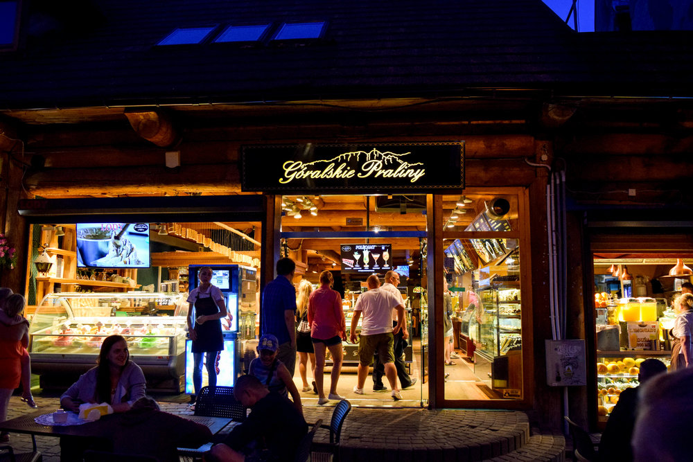 Incredible bakeries like this one line the main street in Zakopane, serving up all manner of waffles, ice cream, and other tasty desserts to make up all the calories we burned hiking.