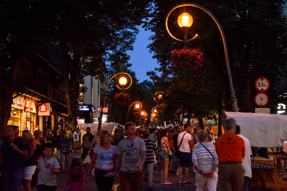 From early morning to late in the evening, the streets of Zakopane are bustling with Polish tourists
