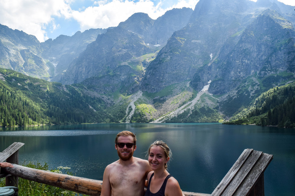 Right before our victory meal at Morskie Oko: sweaty, smelly, dehydrated, and full of endorphins.