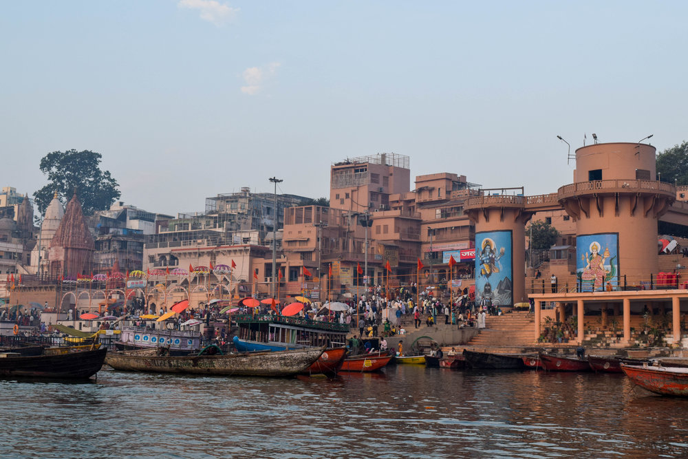 Not the burning ghat. This is the north end of Dashashwamedh Ghat, which is the 'main' ghat.