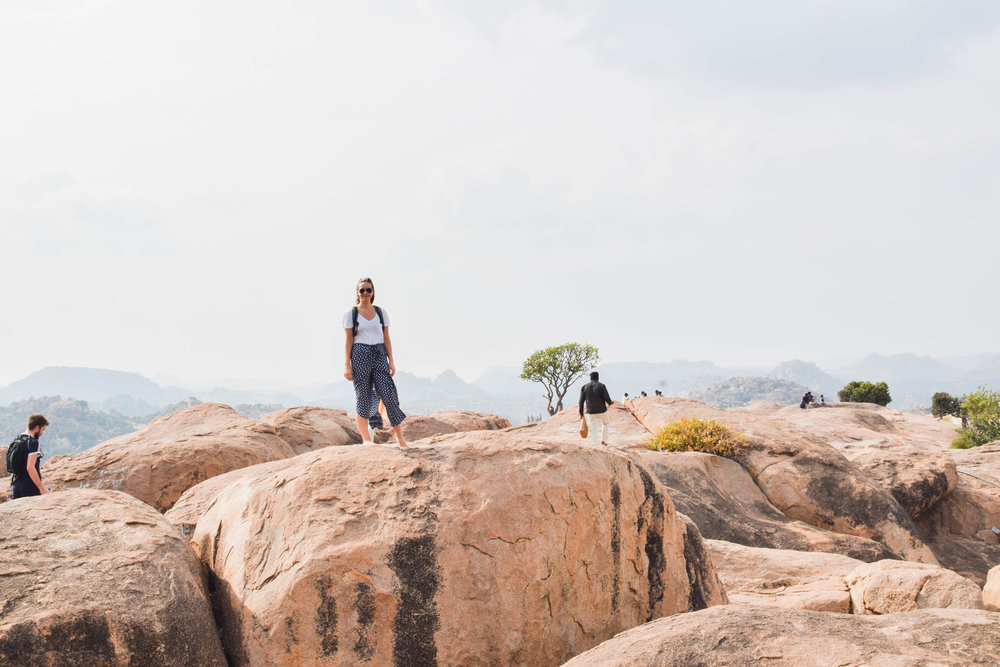 This is the view from the Monkey Temple on the other side of the river. I look calm in this picture but while climbing up to this rock my phone fell out of my pocket and was nearly lost forever in the cracks between the boulders. Close call.