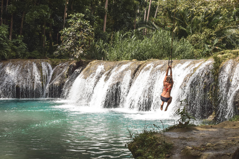 As it turns out, I lack the upper body strength necessary to be good at rope swinging. (Cambugahay Falls)