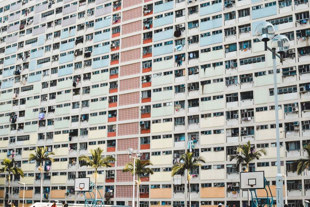 Detail of the colorful painted buildings at Choi Hung Estate.