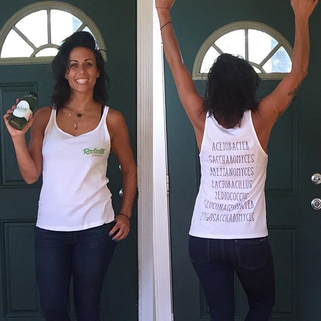@radiatemiami swag is in! so in love with my #bacteria tank! 😂😂😂 gonna look supa fly doin deliveries this week! 🌱☀️#radiatemiami #radiatehealth #radiatebeauty #radiatekombucha #kombucha #miami #wynwood #miamihealth #healthymiami #probiotic #guthealth #fermentation #fermentationstation #fermentationfashion