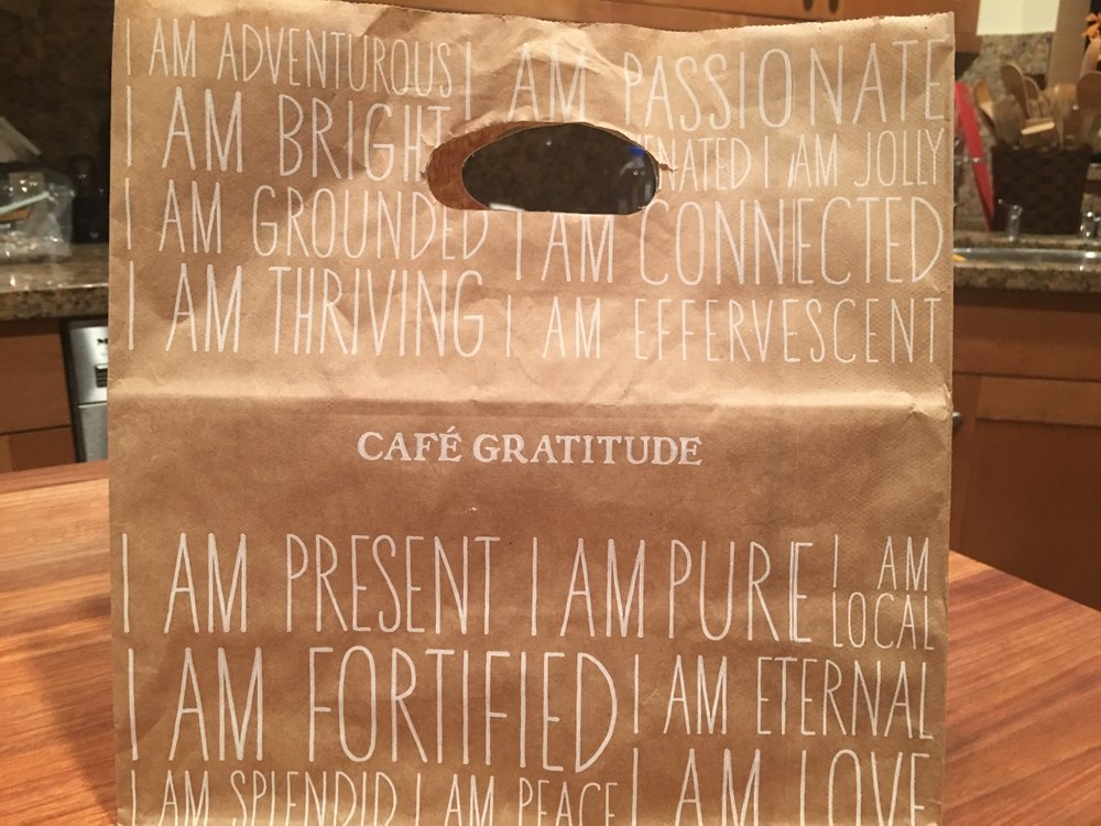 Kudos to Cafe Gratitude Beverly Hills for their inspiring to-go bags!