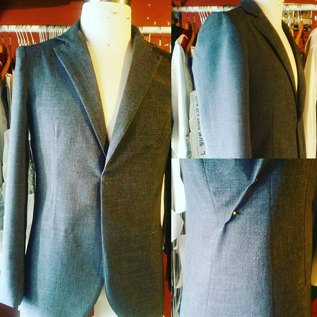 Working on the second mock up of the #MilanoMAI  #bespoke #suit before applying any designs and innovation to it. Still needs to perfect the collar and the side panel. #dapper #luxury #seattleartist #mensfashion #sharp #fashionblogger #fashiondesigner #seattlegents