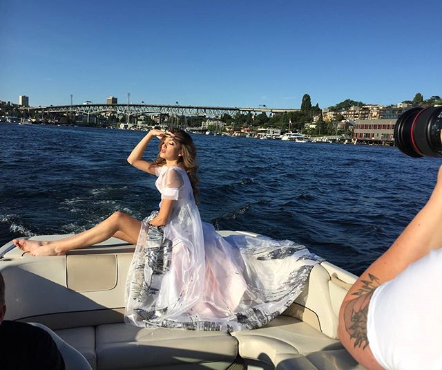 When it's beautiful out in #seattle,  we take advantage of it. #Fashion #photography #model #fashionshoot #milanomai #gown #fashionblogger #seattleartist #boat #smgmodels
