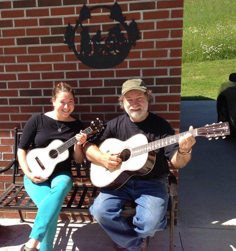 Me and my dad with Steve Krieger's Henderson guitar and matching EJ Henderson ukulele