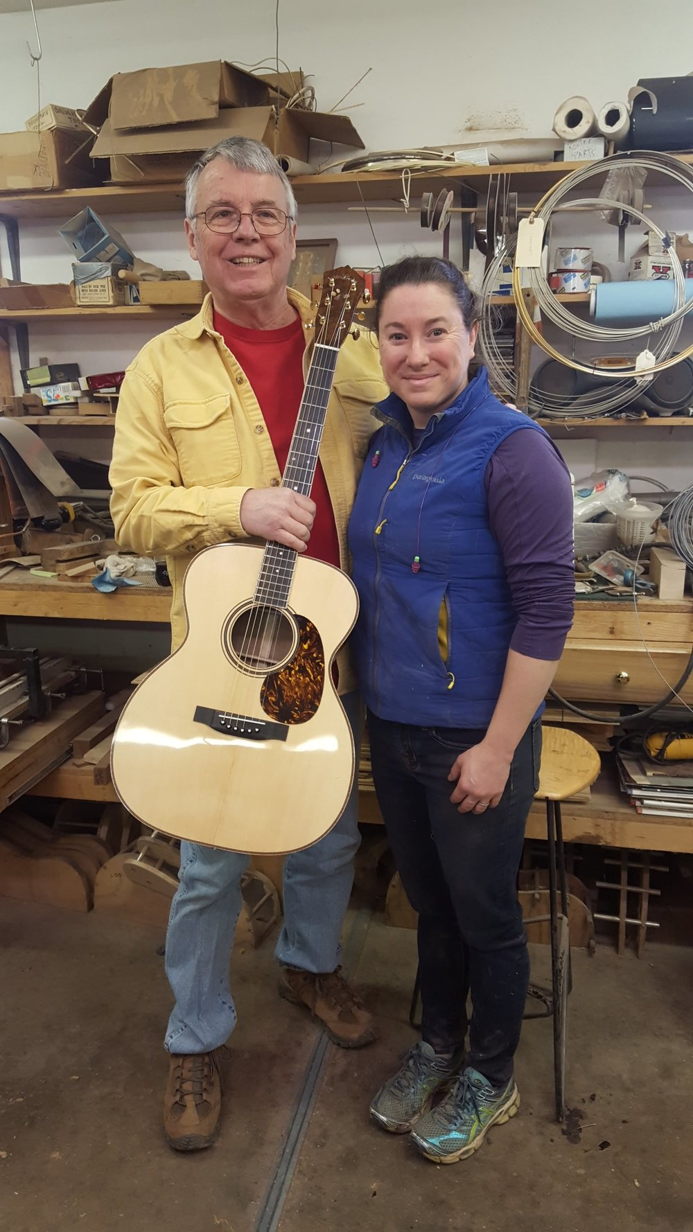 George came down from Maryland to pick up his walnut 000 with custom inlays of his beloved dog, Skeeter.