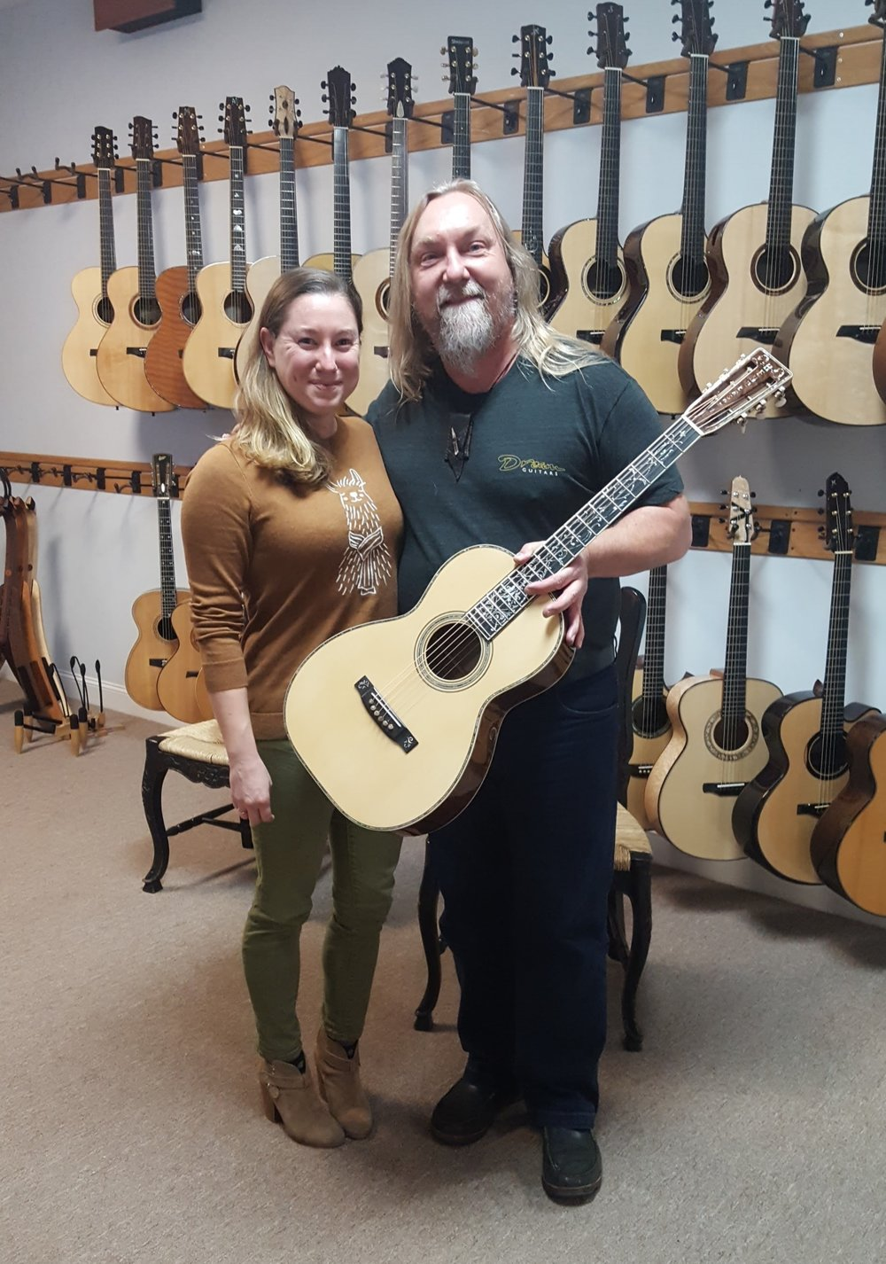 Hanging out with Paul, owner of Dream Guitars in Weaverville, NC.