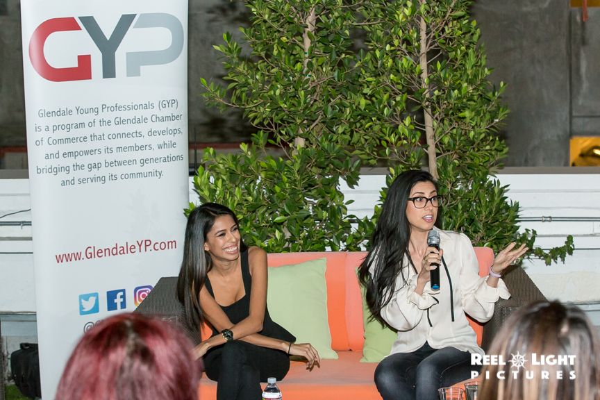 Gavi Chavez and Anna Kachikyan engage during the Social Media Influencer panel.