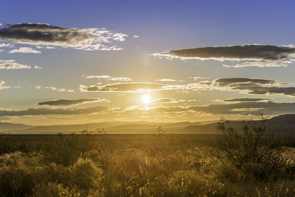 I was headed north on the 14 when the sun began to light up the night sky and ultimately emerge from behind the El Paso Mountains. Peaking through the clouds, the golden sunset on the Mojave started my trip on a high note.